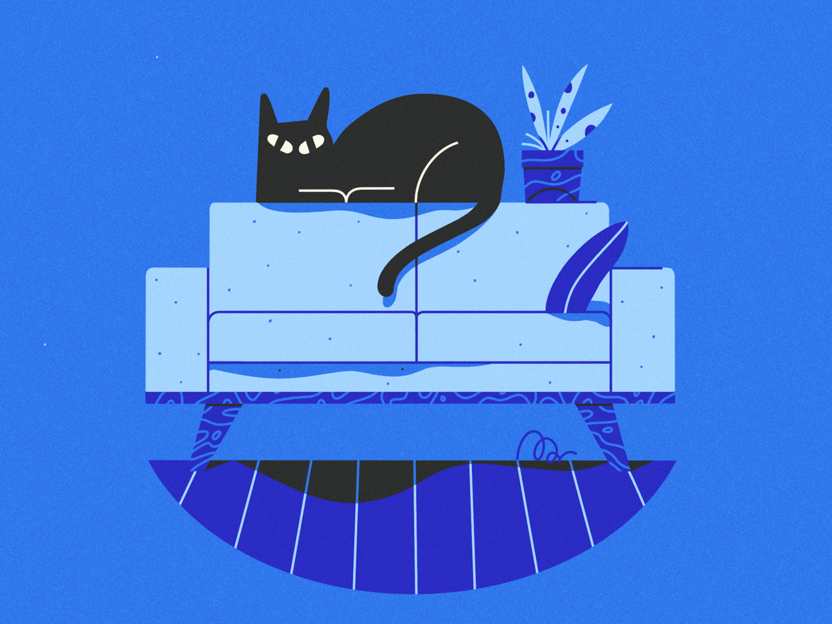 Huge cat smol couch by Frederique Matti