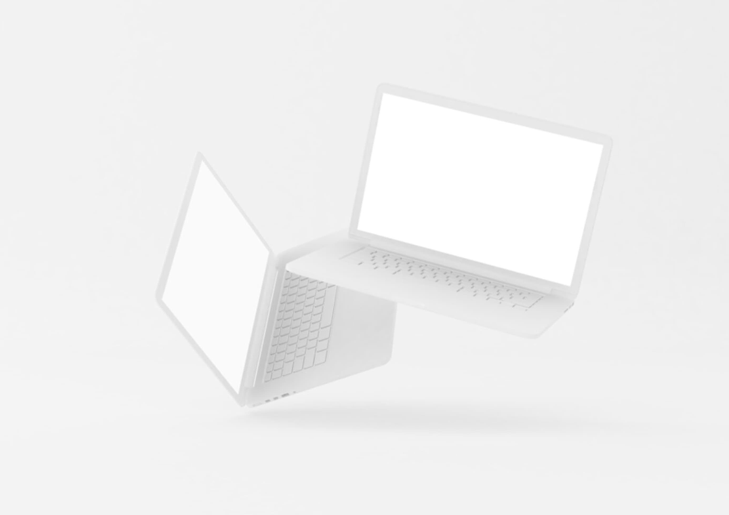 Floating Clay MacBook Pro Mockup by Malli Graphics