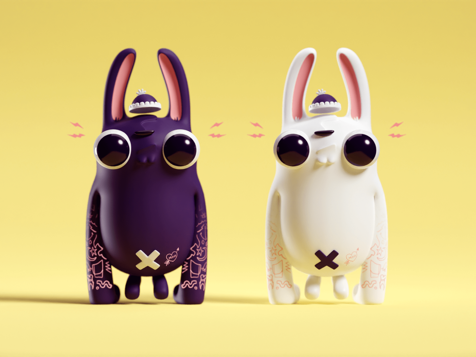 Black and White Gorilla Bunnies by Mohamed Chahin
